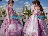 2015春季新款欧美外贸蕾丝后摆公主裙婚纱蓬蓬裙童礼服背心裙
