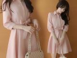 2015春夏女装粉色雪纺衬衫连衣裙 韩版中长款修身收腰衬衣裙子女
