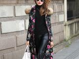 女装批发2015冬装新款欧美长款印花女式外套毛领连帽羽绒服YS8