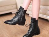 欧洲站14新款真皮尖头女靴 时尚铆钉系带短靴子 外贸高档马丁靴