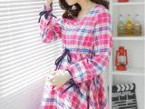 2014秋季韩版长袖系带格子孕妇连衣裙韩国时尚孕妇装女装批发