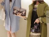 8003#韩国代购 新款 秋冬 加厚宽松休闲中长款羊毛呢大衣外套