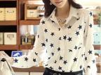 2014秋装新款五角星长袖衬衫爆款女装上衣 衬衣开衫打底衫