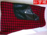 松梦蝶2158新款秋冬打底裤 加厚加绒双层格子裤 不倒绒九分保暖裤