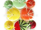 淘宝爆款 可爱卡通西瓜陶瓷儿童餐具 手绘釉下彩水果碗勺盘子