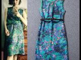 2015夏装欧美圆领无袖背心裙大码女装雪纺印花连衣裙长裙一件代发