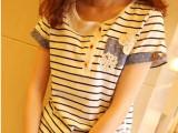 2014日系女装夏季新款条纹印花个性拼接钩花不规则下摆t恤278