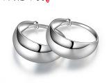 银龙珠宝S990纯银耳扣简约光面耳环韩版时尚耳坠素银耳饰品批发
