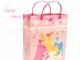 迪士尼粉色三公主PP塑料透明手提袋 品牌专柜童装包装礼品袋 定做