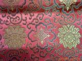 唐装丝绸面料织锦缎 大红黑丝彩色富贵花