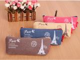 巴黎记忆铁塔笔袋 复古帆布笔袋 可爱学习收纳笔