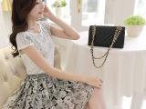 2015夏季新雪纺连衣裙子女装韩系两件套装清新碎花蕾丝印花连衣裙