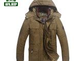 8958战地吉普男装冬季加厚夹棉外套中长款棉服水洗纯色带帽夹克淘