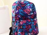 货源爆版韩版骷髅头印花中学生背包旅行帆布包男包女包一件代发