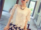 新款促销 夏季新款名媛小香风蕾丝短袖上衣+吊带+短裤三件套女