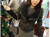 外贸品牌韩版 afternoon耸肩麂皮加绒翻领机车皮衣外套