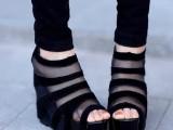 13夏季欧美新款绒面坡跟裸靴鱼嘴鞋短靴超高跟网纱镂空凉鞋子608