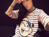 2014初秋韩版新款卡通大力水手时尚彩色中袖t恤女8866
