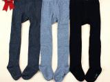 外贸尾单 婴儿童连裤袜 黑灰纯色 春秋纯棉加大裆