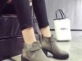 韩版秋冬侧拉链显瘦圆头防水台粗跟马丁靴骑士靴女鞋