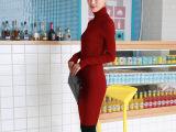 古冠服饰新款高领针织衫打底衫 长款高弹修身型针织衫 女式羊毛衫