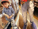 外贸牛仔童裤 2014新款春装男童休闲长裤 砂洗破洞小童背带牛仔