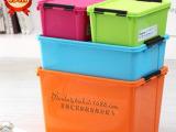 厂家直销带扣塑料收纳箱衣物整理箱收纳盒有盖23L-87L