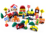 磁性火车轨道玩具 磁性小车城市积木32片木制儿童玩具