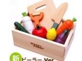 益智1-4岁木制布袋装木盒装磁性水果切切看 木质切切乐过家家玩具