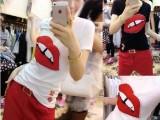 7603 韩版时尚短袖红唇T+宽松七分休闲套装 送腰带