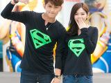 2015情侣装韩国新款长袖修身印花字母春秋打底衫T恤棉