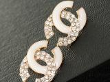 0041韩国高档合金镶钻滴油耳钉耳环时尚大牌字母小香风微镶饰品