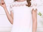 徵媛 雪纺衫夏季新款短袖小衫上衣女宽松大码蕾丝雪纺衫 F014216