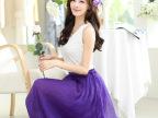 2014韩版大码女装中长款半身裙夏季 纯色百褶仙女半身长裙新品