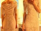 厂家直销 韩版性感夜店高贵优雅露肩 一字领蕾丝连衣裙 短裙