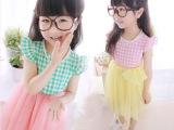 新 2014夏款韩版童装批发 飞袖格子网纱连衣裙 品牌外贸童装