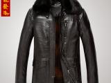 2014秋冬季新款男士皮衣 热销商务中老年可拆卸领中长款男款皮衣