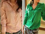 供应品牌折扣女装批发 实拍耸肩立领泡泡袖长袖衬衫 D6-1749