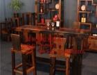 梅州市老船木家具茶桌茶台茶几餐桌吧台办公桌沙发实木门柜架子