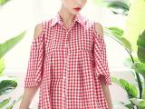 2014新款女装夏装 韩版外贸原单露肩短袖红格子娃娃连衣裙