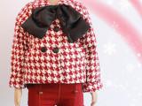 2014新品 秋冬童装韩版 女童毛呢风衣  女双排扣蝴蝶结短款外