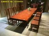 原木大板办公桌黑檀木大板桌茶餐桌奥坎巴花黄花梨红木老板会议桌