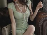 2014韩国代购夜店性感女装 时尚v领修身包臀鱼尾纹裙韩版连衣裙