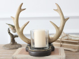 美式乡村天然树脂工艺品 鹿角造型烛台摆件