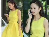 2014新款妻子的秘密赵丽颖杨幂明星同款韩版百搭黄色连衣裙