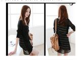 E7010春夏新款韩版长款修身条纹背心连衣裙雪纺外套两件套