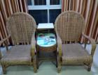 出售实木办工桌 赠送藤椅沙发