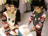 2014冬季儿童加绒卫衣五角星印花休闲女童卫衣 圆领长袖套头衫