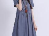 2014新款原创韩版大码短袖大码棉麻文艺范连衣裙夏季女装批发