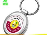 金属钥匙扣圆形双面印LOGO贴纸滴胶公司促销活动礼品挂件